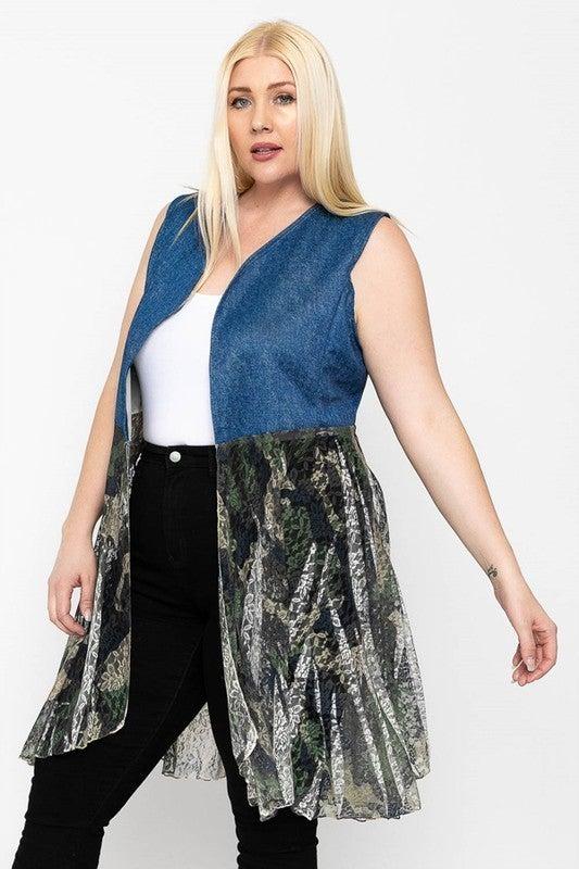 Sleeveless Denim & Lace Kimono Cardigan in Multiple Prints - Sizes 12-20