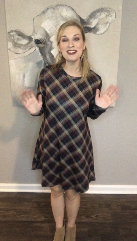 Falling for You Navy, Wine, Olive and Tan Plaid Dress with Suede Elbow Patch - Sizes 4-20