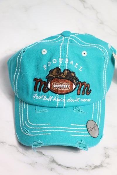 Football Mom - Football Hair Don't Care - Leopard Bow Football Baseball Cap in Multiple Colors