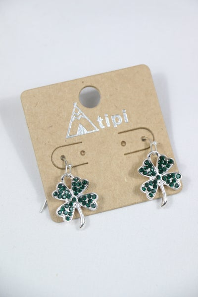 Lucky Day Silver Shamrock Earring With Green Crystal Detail
