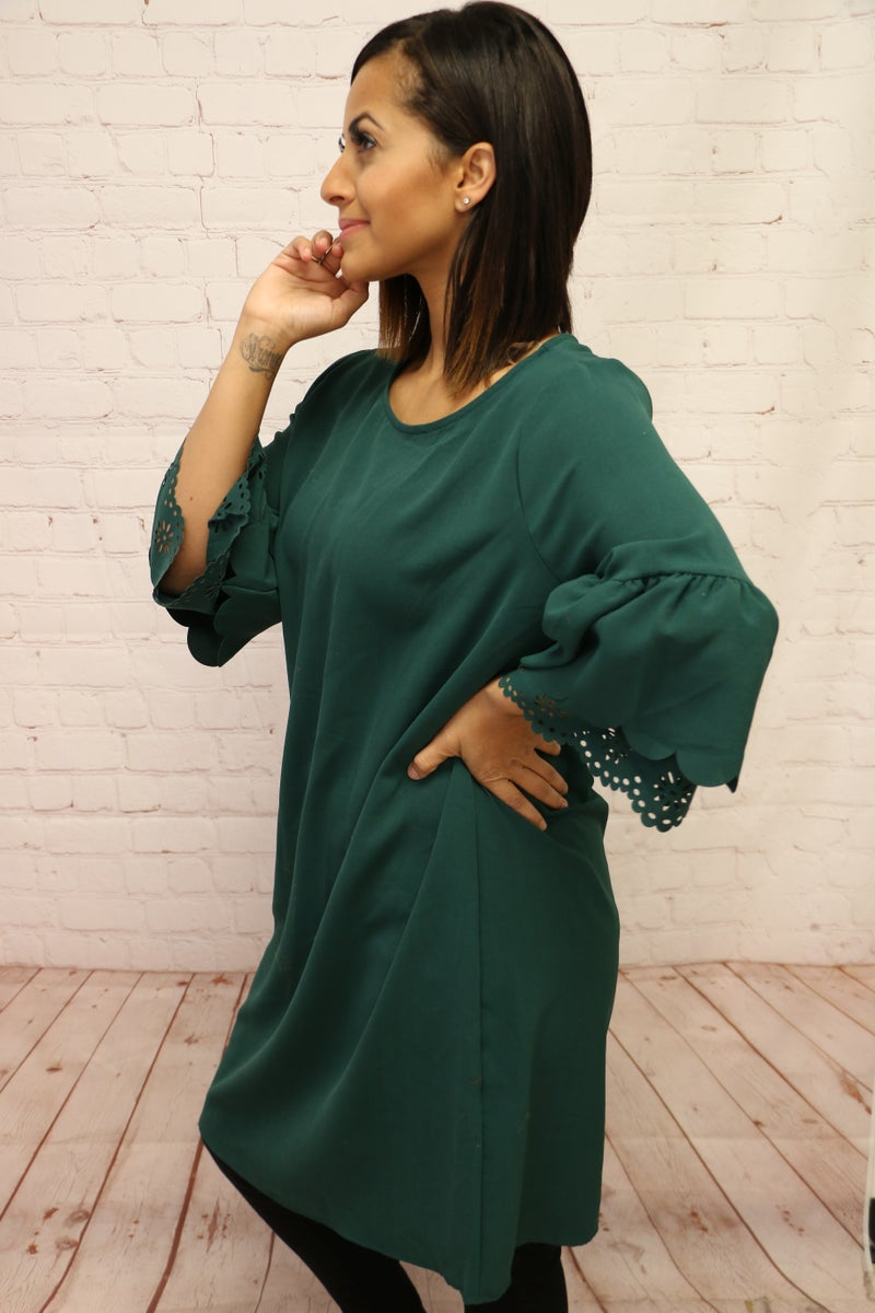 Sing Your Praises Green Scalloped Bell Sleeve Dress - Sizes 4-10