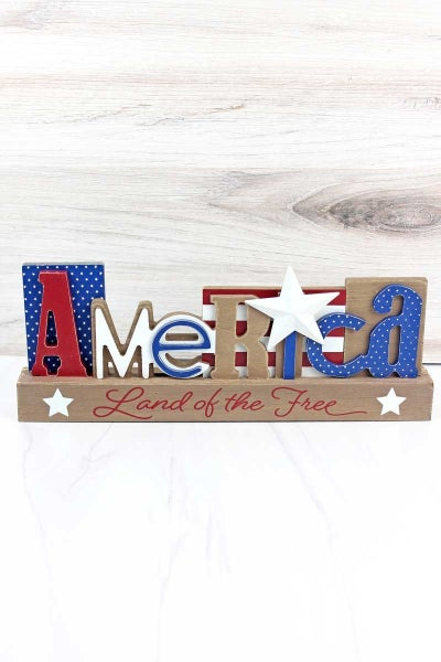 America Land of the Free Patriotic Wooden Table Topper