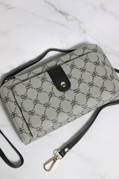 All Day Grid Pattern Gray And Black Purse/Wallet With Shoulder Strap
