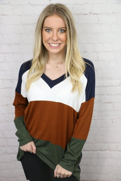 Time is Wasting Navy and Rust Colorblock Hacchi Top - Sizes 12-20