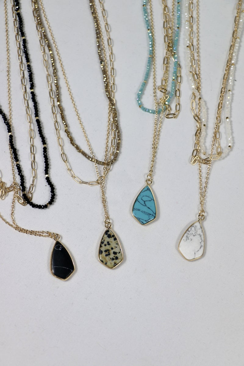 Long Way Home 3 Strand  Gold Chain And Beaded Necklace With Stone Pendant In Multiple Colorsw