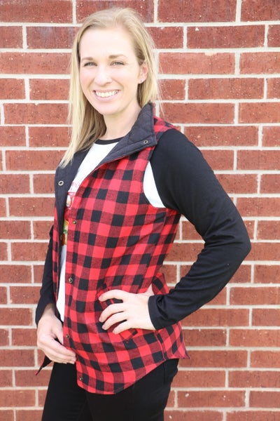 Fight For Love Buffalo Plaid Lined Vest in Multiple Colors- Sizes 4-20