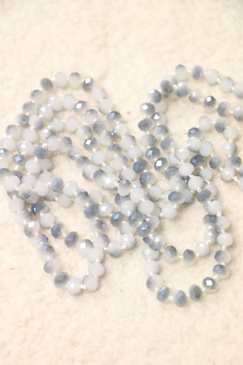 Point Of Perfection Beaded Necklace In Smoky Blue