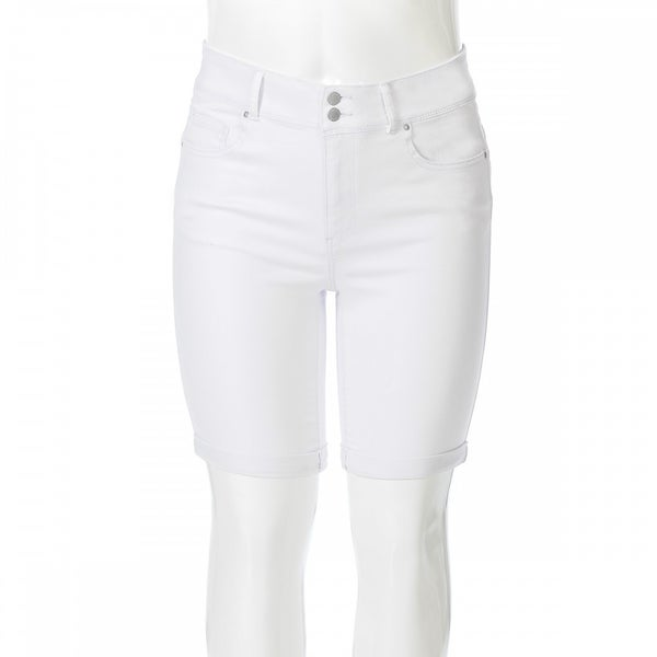 The Flora White High Rise Bermuda Short with Double Button Fly and Cuffed Hem- Sizes 12-20