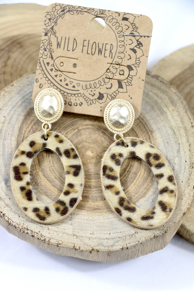 On The Ropes Leopard Ponyhair Cutout Circle Earring With Hammered Gold Post