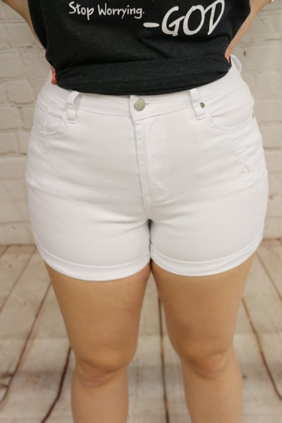 Yours Truly White Bermuda Shorts With Distressing- Sizes 4-20