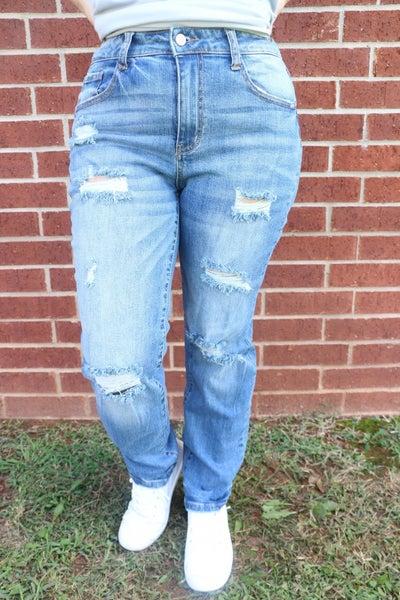 The Annabelle Medium Wash Distressed Slim Fit Boyfriend Jean- Sizes 3-20
