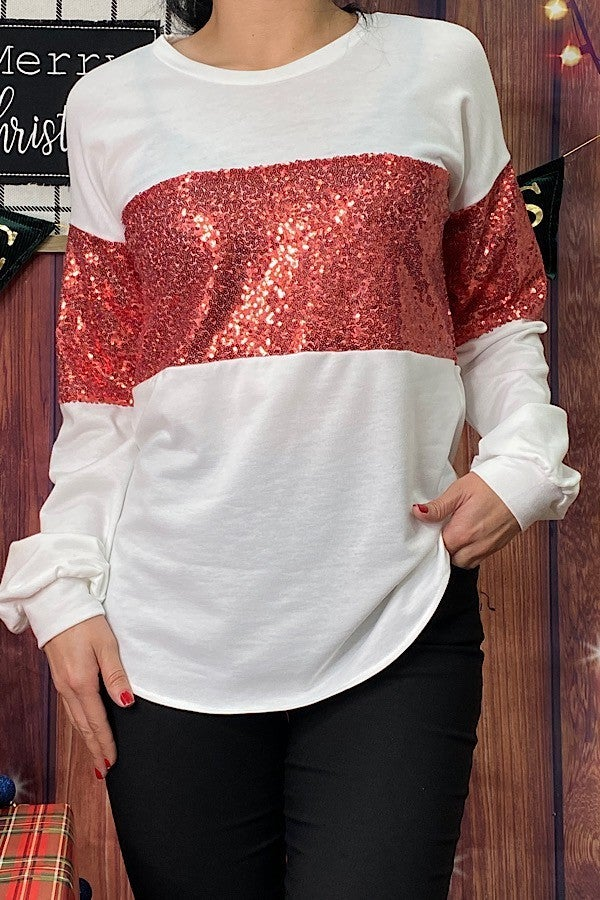 With You Always Colorblock Top with Red Sequins - Sizes 4-20