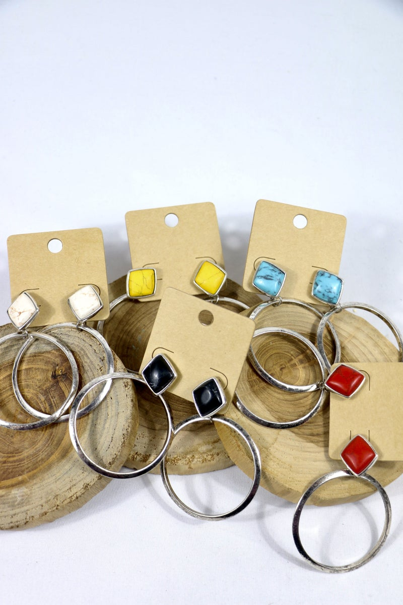 Go Fight Go Large Stone Diamond And Silver Hoop Earring In Multiple Colors