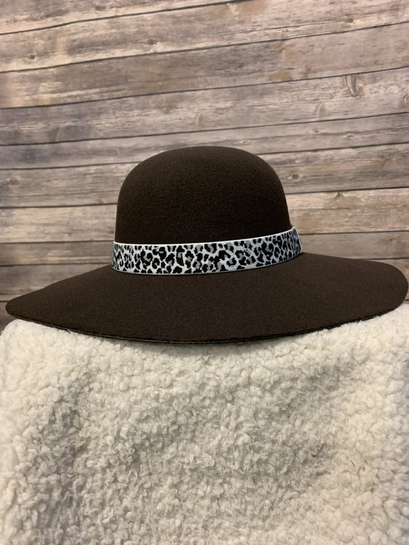 Looking Sassy Felt Wide Brimmed Hat With Leopard Band In Multiple Colors