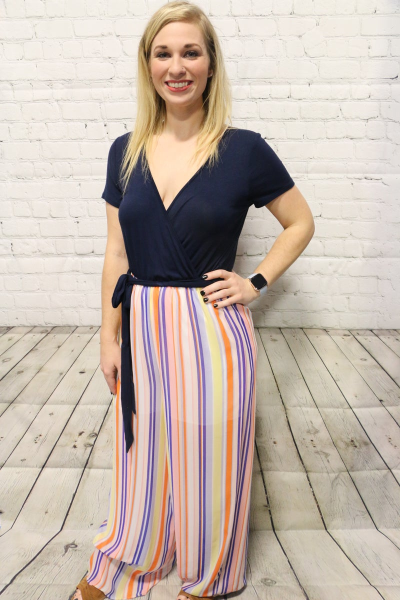 Somehow We Will Make It Striped Multicolor Contrast Jump Suit - Size Medium