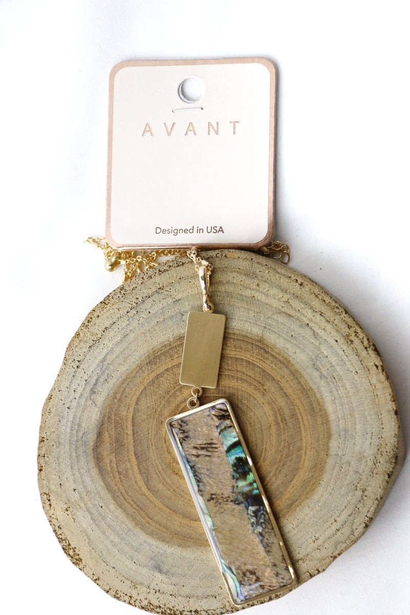 Perfection Long Gold Necklace With Abalone Rectangle Pendant