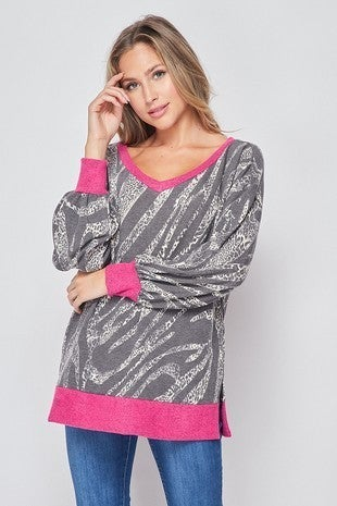 Left in the Dust Zebra Print with Leopard and Hot Pink Accented Balloon Sleeve - Sizes 4-20