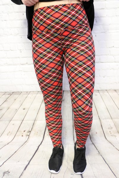 Not Today Red Plaid Yoga Leggings-Sizes 4-20