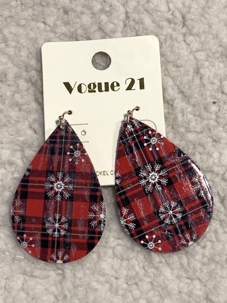 Snow Days Red Plaid And Snowflake Leather Teardrop Earring