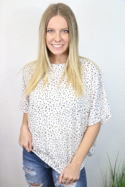 Bouncing with Joy Dalmatian Print Short Sleeve Dolman - Sizes 4-20