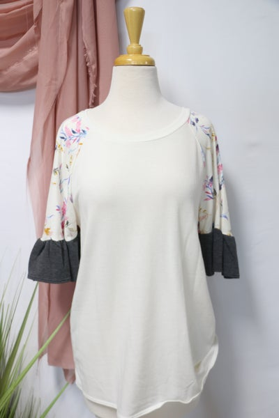 We're All Good Ruffle Floral Sleeve Top In Ivory- Sizes 4-20