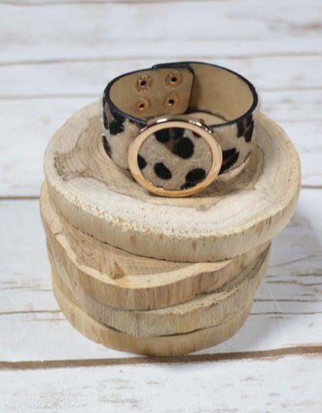 Cream Leopard Buckle Bracelet