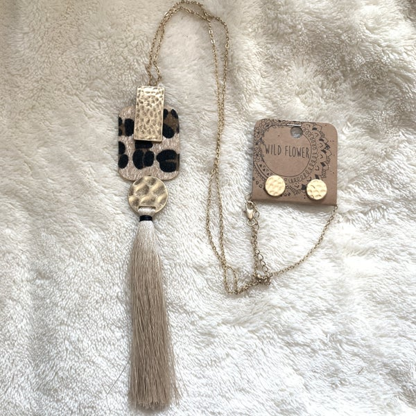 Far Enough Long Gold Necklace With Gold And Leopard Pendant And Tan Tassel
