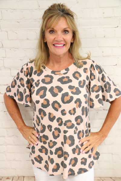 Making the Calls Waffle Knit Blush Leopard Short Sleeve Top - Sizes 4-10
