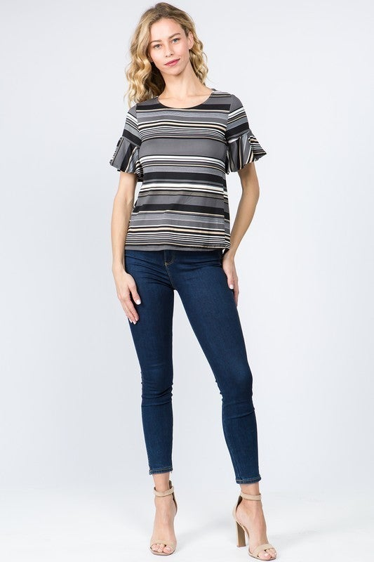 Follow Me Multi Striped Print Bell Sleeve Top in Multiple Colors - Sizes 4-20