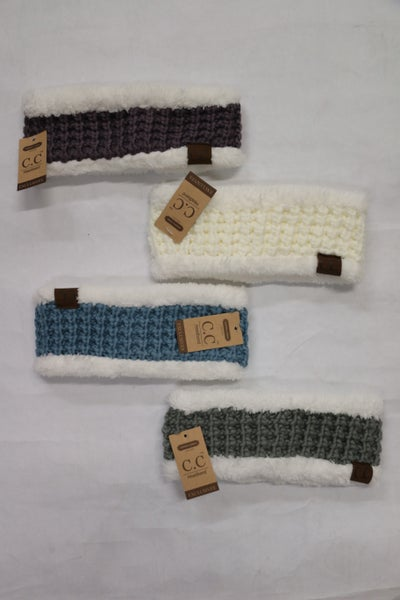 Nice and Toasty Sherpa Accented Crochet Ear Warmer in Multiple Colors