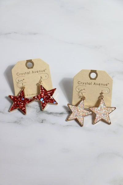 Star Power Glitter Star Earring In Multiple Colors