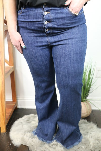 The Lily Mid Rise Dark Wash Button Down Flare Jeans with Frayed Hem  - Sizes 12-20