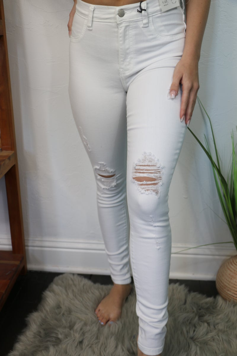 The Janda High Waist Distressed White Jeans - Sizes 1-15