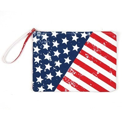 All American Flag Inspired Canvas Wristlet Bag