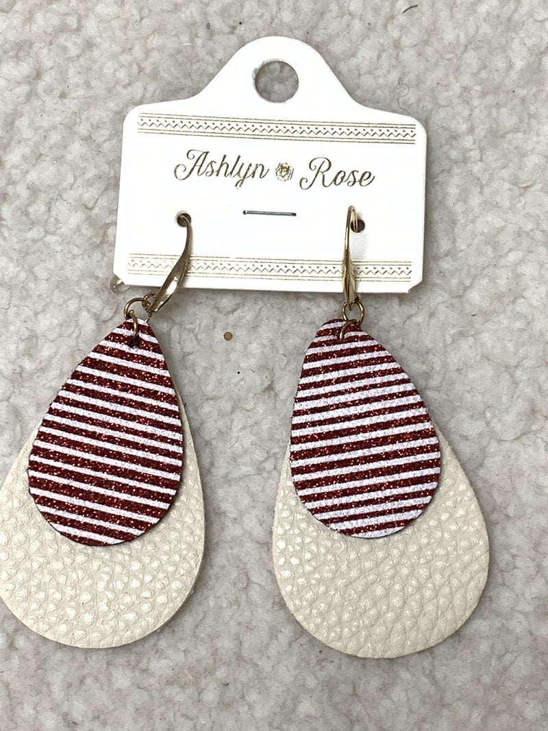Candy Cane Wishes Double Teardrop Earring In Cream And Red/White Stripe