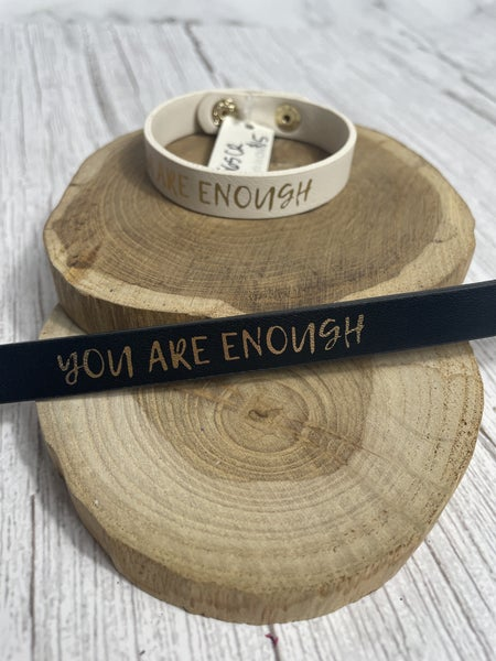 You Are Enough Leather Band Bracelet In Multiple Colors