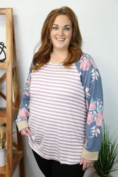 Find Your Happiness Striped Raglan with Blue Floral Accent Sleeve - Sizes 12-20
