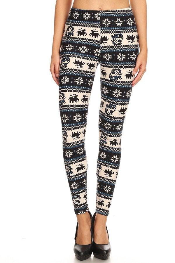 Santa & Snowflakes Leggings - Sizes 4-20
