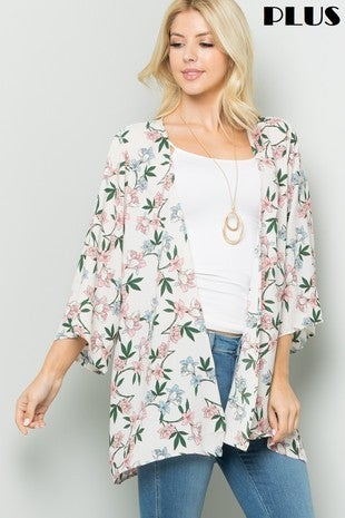Looking to the Sun Light Gray Floral Cardigan - Sizes 4-20