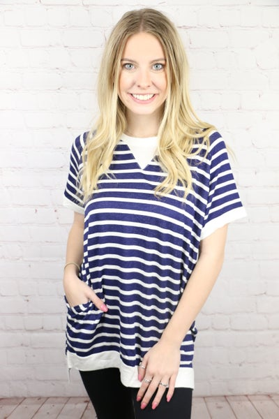 Never Failed Me Striped High Low Top With Pockets- Sizes 4-20