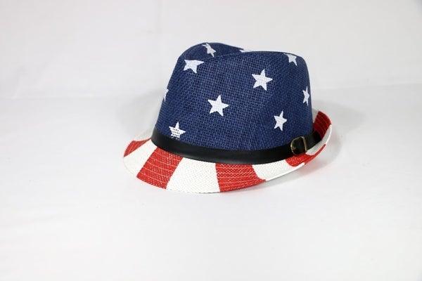 America The Beautiful American Flag Linen Fedora