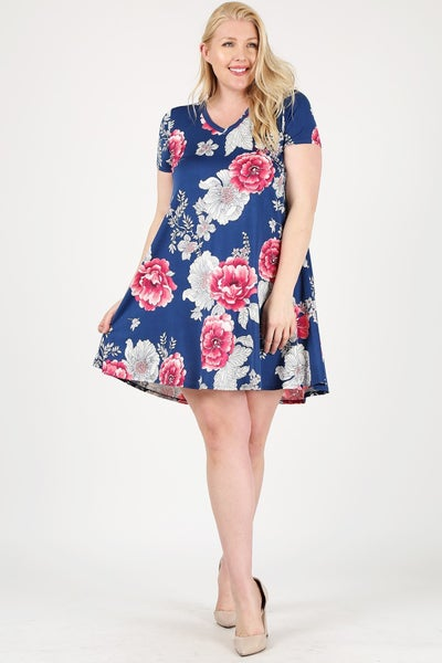 Wait for Love Floral V-Neck Short Sleeve High Low Dress in Multiple Colors - Sizes 12-20