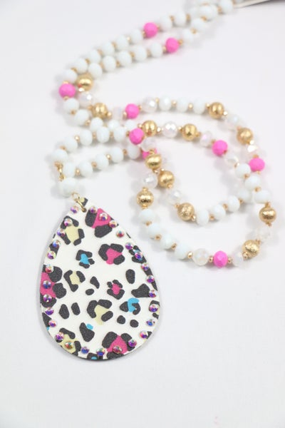 Pretty In Pink White And Pink Beaded Necklace With Leather Multicolor Leopard Teardrop Pendant With Bling