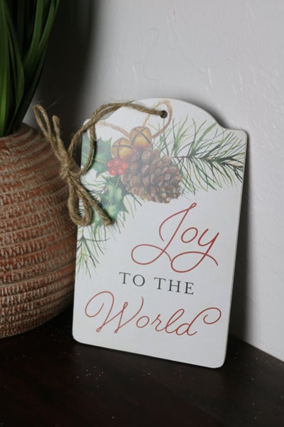 Joy To The World White Wood Pine Cone And Greenery Wall Hanging
