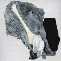 Grateful Heart Gray Tie Dye Duster - One Size