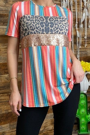 Wild at Heart Serape and Leopard Sequin Colorblock Short Sleeve Top - Sizes 4-20