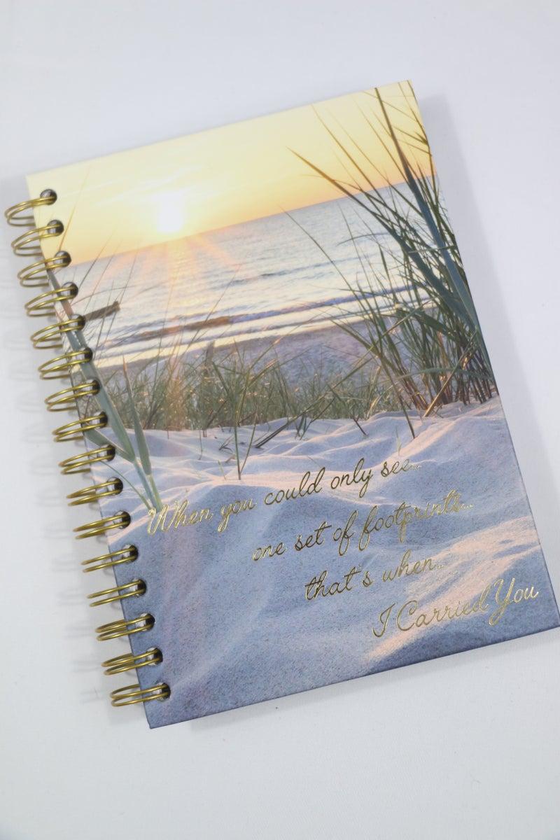 One Set of Footprints Lined Spiralbound Journal