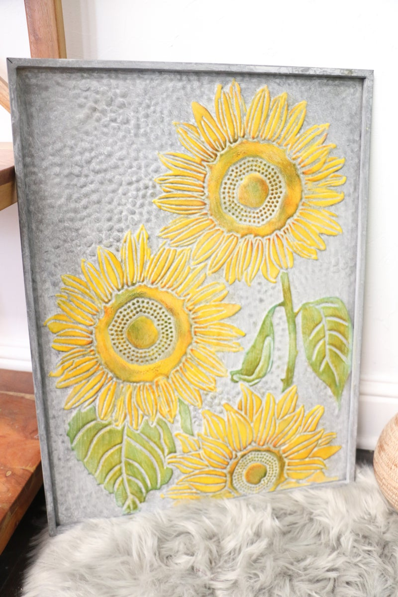 Happy Days Galvanized Metal 3 Sunflower Wall Tin