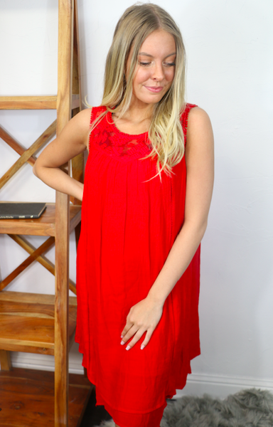 Take the Moment Red Gauze Dress with Lace and Crochet Accents - Sizes 4-12