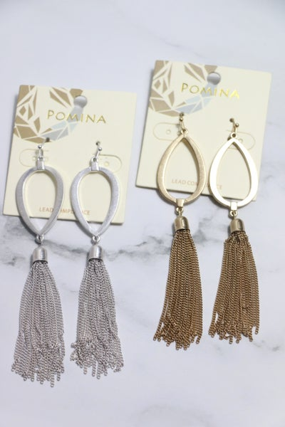All Time Hight Metal Teardrop And Chain Tassel Earring In Multiple Colors